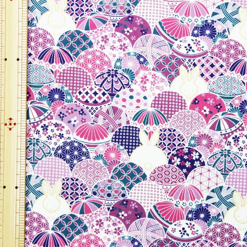 和調木綿(毬とうさぎ)紫【布地 生地 和柄】【和柄生地】【RS2】