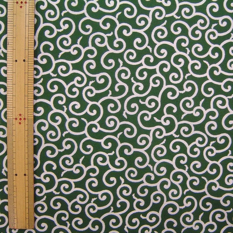 手芸 和調木綿 (唐草文様 小)緑【布地 生地 和柄】【和柄生地】【2001-3A】