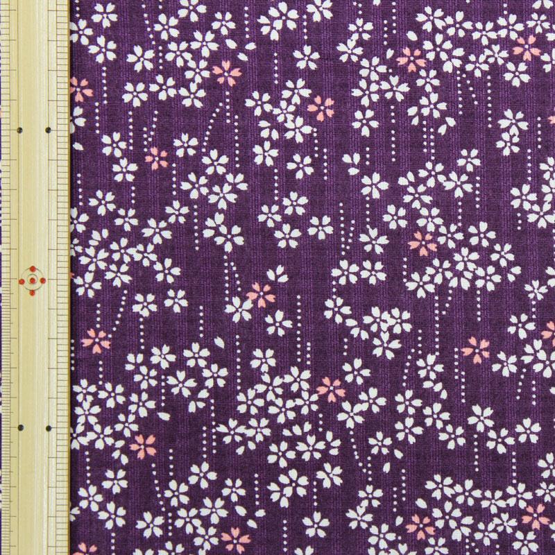 和調木綿(しだれ小桜文様)紫【布地 生地 和柄】【和柄生地】【RS】