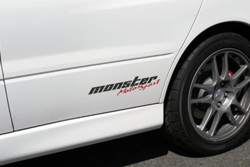 モンスタースポーツ ステッカー*Monster Sport*スイフト/ジムニー/ランサーエボリューション/86【モータースポーツステッカー(クリア×ガンメタ×レッド)】362×75.5【ZZZB20】