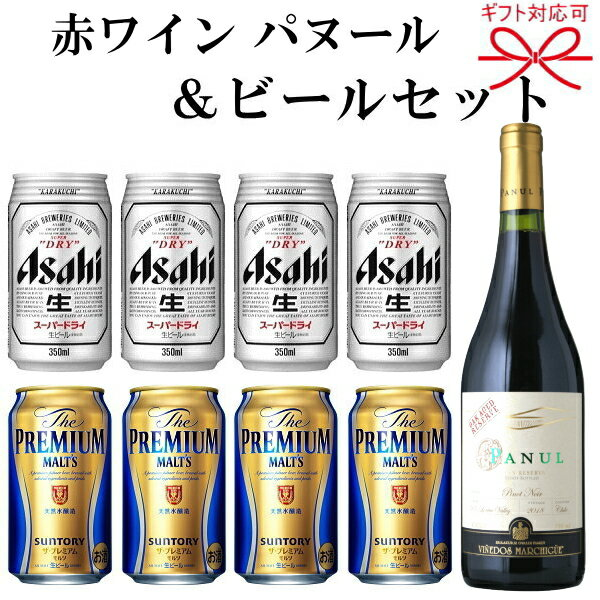 【ギフト品】『ビール&ワインよくばりギフト08』アサヒスーパードライ、サントリーザ・プレミアム、ピノノワールの赤ワインが同時に楽しめるギフトセット誕生日プレゼント/ビールギフト/お中元/暑中見舞い/残暑見舞い/
