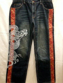 INFINITY インフィニティー デニムパンツ 龍神5連ポケット刺繍 【コンビニ受取対応商品】