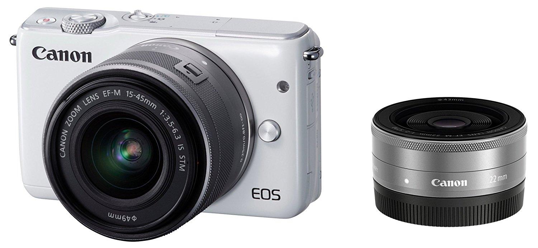【新品】【送料無料】Canon ミラーレス一眼カメラ EOS M10 ダブルレンズキット(ホワイト) EF-M15-45mm F3.5-6.3 IS STM EF-M22mm F2 STM 付属 EOSM10WH-WLK