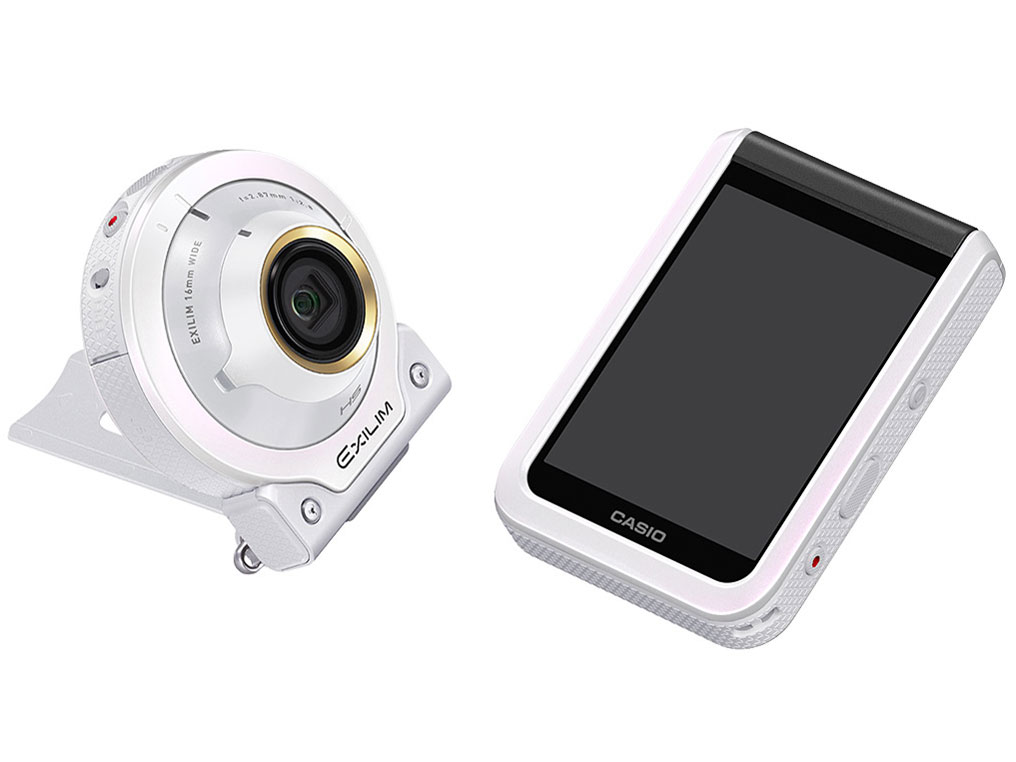 【新品】【送料無料】CASIO デジタルカメラ EXILIM EX-FR100LWE カメラ部/モニター部分離 セルフィーが簡単 3つのこだわり自分撮り機能