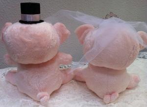 ♪記念日と名入れが無料サービス♪【手作りキット】おすわりぶーちゃん(ピンク)【ウェディングウエディングウェルカムマスコットぶたブライダル】
