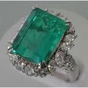 【C58】 Pt900 プラチナ エメラルド(天然ベリル)11.192ct ダイヤ デザイン・リング(指輪) 中古品仕上げ済み