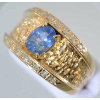 【D27】k18イエローゴールドブルーサファイヤ1.04ctメレダイヤデザイン・リング(指輪)中古品仕上げ済み