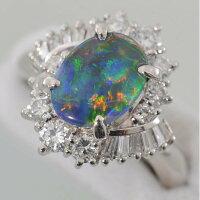 【E81】Pt900プラチナ900天然ブラックオパール1.13ctダイヤデザインリング指輪