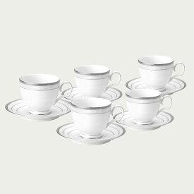 【ノリタケ】ハンプシャープラチナ ティー・コーヒー碗皿5客セット内祝い お返し 出産内祝い 結婚お祝い 結婚内祝い プレゼント 誕生日 コーヒー5客セット