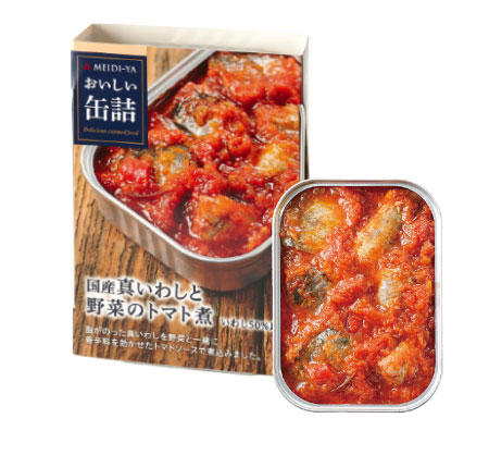 明治屋 おいしい缶詰 国産真いわしと野菜のトマト煮 100g×24個入 同梱分類【B】