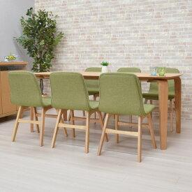 ダイニングテーブルセット 7点セット 幅180cm marut180kaku-7-pani339naok ダイニングセット ナチュラルオーク色/NA-OAK 6人用 6人掛け 机 テーブル 木製 ファブリック チェア 椅子 イス キッチン 食卓 GR色 北欧 シンプル お客様組立品 31s-8k