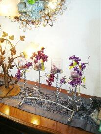 フラワーベース 花器 かわ畑 シルバー 約47×17×38cm 1109OHQ001