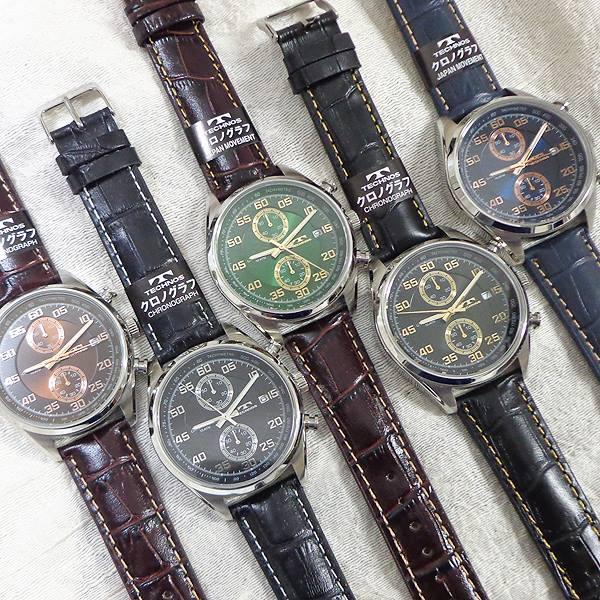 TECHNOS テクノス T2442 メンズ 腕時計 カラー クロノグラフ デイト 10ATM 防水 革 バンド マルチ ウォッチ 縦目 クロノ 10気圧 防水 日本製ムーブ