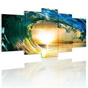 送料無料・あす楽お試し価格インテリア絵画海風景画壁飾りモダン現代海の景色夜明けの海5パネルセット逆巻く波と夕日アートパネル完成品