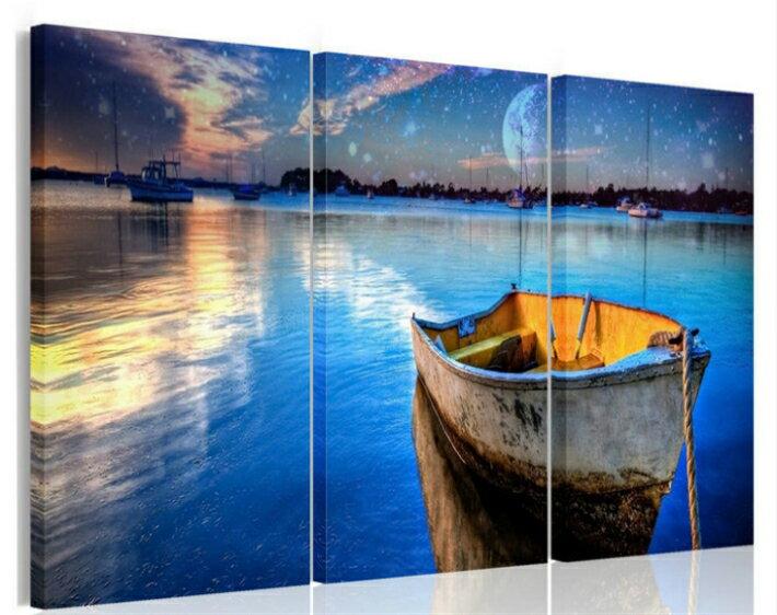 送料無料・あす楽 絵画 星空下の船アートパネル 壁掛け パネル 壁飾り アートパネル・ファブリックパネル Airbnb 民泊 シェアハウス 装飾風景画アートパネル3パネルSET