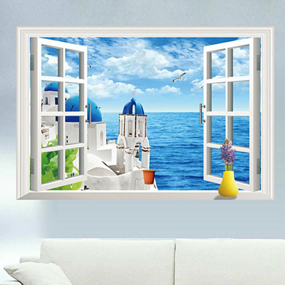 ウォールステッカー窓の景色 ウォールステッカー 窓 リゾート地の風景 壁シール 欧風 カモメ ブルー 空 雲 開放感 リゾート地のポスター 地中海の風景 ゆうメール便送料無料