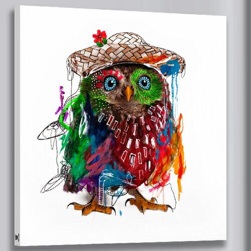 風水画 幸せを招く絵画 カラフルふくろう 油絵風  アートパネル 送料無料 あす楽! ふくろう絵画(50*50cm)お歳暮ギフト ファブリックパネル 壁飾り Airbnb 民泊 シェアハウス装飾