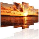 インテリア絵画アートパネル 海 風景画 壁飾り モダンおしゃれ 海辺の夕日 アートパネル 5枚パネル 完成品 直接に取り付けます。