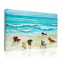 送料無料 絵画 インテリア おしゃれ 壁掛け 絵 油絵風 絵画 ポスター 動物画 海辺を走る犬の群れ ダックスフント …