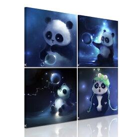 絵画 パンダ アートパネル 4パネルセット 絵画 インテリア おしゃれ 壁掛け 絵  個人で、業務用に、ギフトにも!ギャラリーウォール リピング 接客室 会議室 事務所