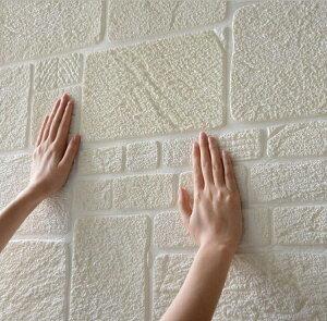 貼るだけ! クッション粘着シート   防音シート70cm×70cm 大判 白 クッションシート 壁紙シール 防水 壁紙 断熱 クッションブリック 部屋 壁 貼る のり付き おしゃれ 北欧 3D 立体 リビン