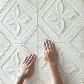 クッションシート 壁紙シール クローバー柄  防水 壁紙 断熱 クッションブリック 部屋 壁 貼る のり付き おしゃれ 北欧 3D 立体 リビング 寝室 キッチン 洗面所 トイレ 発泡スチロール 70cm×70cm大判 白 クッションシート10枚セット  送料無料