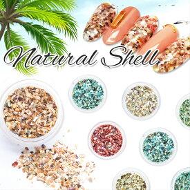 【メール便対応】アースカラー ナチュラルシェル 12色 シェルフレーク クラッシュシェル シェルパーツ 自然の貝