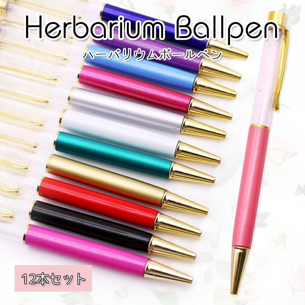 ハーバリウムペン 12本セット 【メール便送料無料】ハーバリウム ハーバリューム ハンドメイドペン