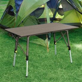TIMBER RIDGE アルミニウム テーブル 110cm×69cm×70cm アウトドア キャンプ コストコ  自宅でBBQ! 持ち運びに便利な収納袋付き 高さ調節 アウトドア テーブル ダークブラウン系