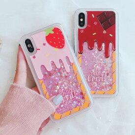 iPhone Case Soft Cream Chocolate Strawberry ソフトクリーム チョコレート ストロベリー グリッター チョコ いちご アイフォン X 8 7 6s 6 8プラス 7プラス 6sプラス 6プラス ブランド デザインケース スマートフォンケース スマホケース スマホカバー アイフォンケース