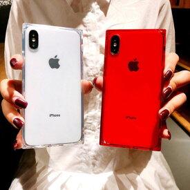 iPhone Case TPU Square Clear iPhoneケース スクエア クリア ピンク レッド ブラック シンプル おしゃれ スタイリッシュ アイフォン 11 11 Pro 11 Pro Max XR Xs Max Xs X 8 7 8 7プラス ブランド デザイン スマートフォン スマホケース スマホカバー アイフォンケース