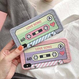 iPhone case Love Song Cassette Tape ラブソング カセットテープ トラベル ケース レトロ 恋歌 パステル ピンク ブルー 可愛い 旅行 スーツケース キャリーバッグ ユニーク 可愛い 韓国 ファッション デザイン スマートフォン スマホケース スマホカバー アイフォンケース