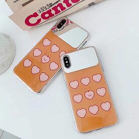 iPhone design case Orange Heart Mirror Case iPhone ケース オレンジ ハート ミラー 鏡 スマイル スマイリー ニコちゃん 可愛い ユニーク 可愛い 韓国 ファッション ブランド デザイン スマートフォン スマホケース スマホカバー アイフォンケース