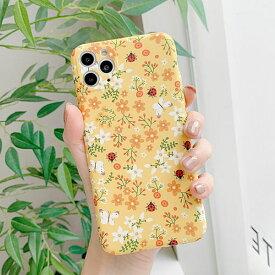 iPhone Yellow Garden Case イエローガーデン フラワー 花 黄色 春 蝶々 バタフライ テントウムシ 虫 幸運 幸せ ナチュラル TPU ファッション アイフォン SE2 11 11 Pro 11 Pro Max XR Xs Max Xs X 8 7 8 7プラス スマートフォン スマホケース スマホカバー アイフォンケース