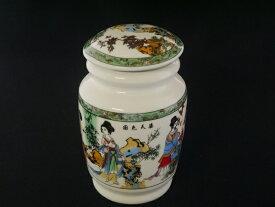 茶缶 茶筒(お茶入れ)美女1個【中国茶器・台湾茶器】陶器製茶筒