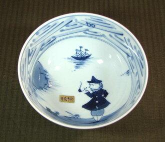 Blue flower Nagasaki Crest 5 inch deep Bowl