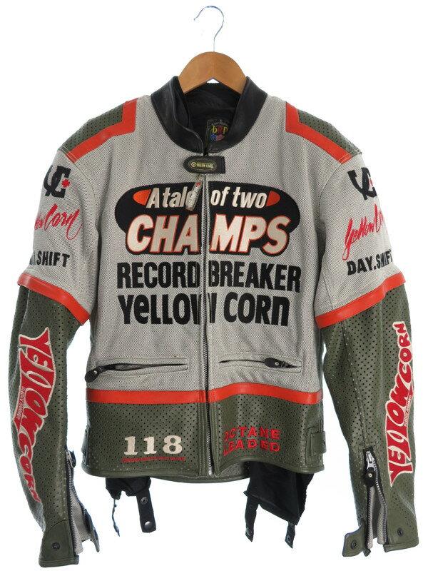 【YeLLOW CORN】【バイクウェア】イエローコーン『プロテクター・ライナー付 レーシングジャケット sizeL』メンズ バイクジャケット 1週間保証【中古】b01f/h17AB