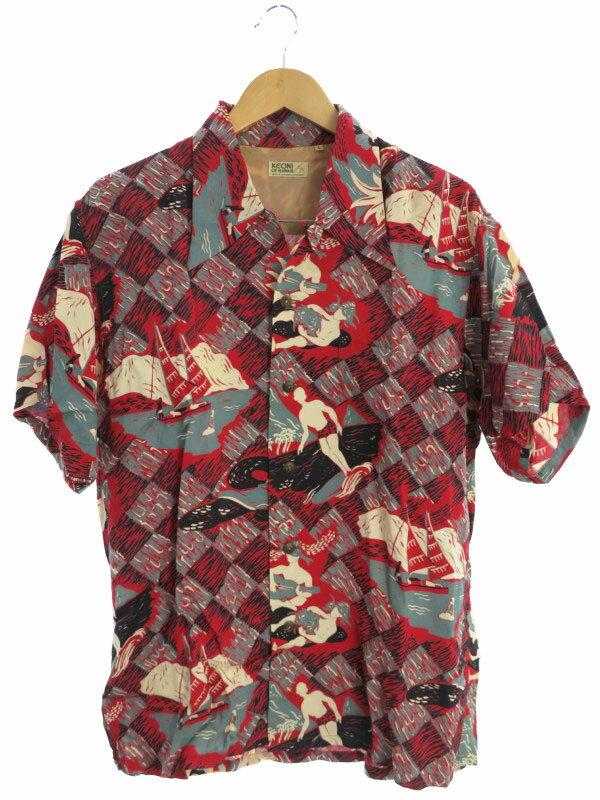【SUN SURF】【KEONI OF HAWAII】【トップス】サンサーフ『半袖アロハシャツ sizeL』メンズ 1週間保証【中古】b03f/h22AB
