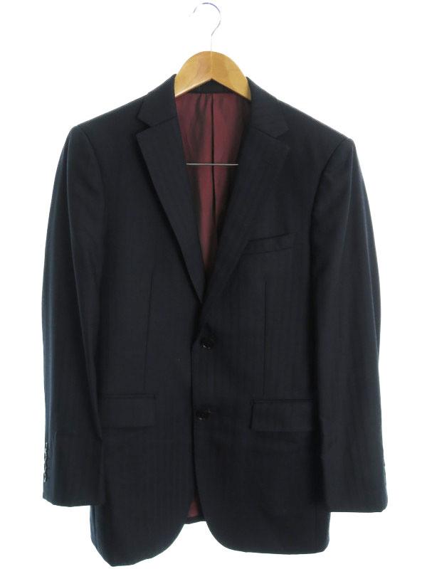 【BURBERRY BLACK LABEL】【日本製】【上下セット】バーバリーブラックレーベル『ストライプ柄スーツ size36R』BMD01-302-29 メンズ セットアップ【中古】b01f/h10AB