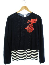 【COMME des GARCONS SHIRT】【Fully Fashioned Knit Intarsia stripe Rubber ptint Gauge 14】コムデギャルソンシャツ『長袖ニット sizeS』S25501【中古】b02f/h07A