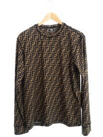 【FENDI】【FFロゴ】【イタリア製】【トップス】フェンディ『ズッカ柄 長袖Tシャツ sizeM』FAF554 AA9 20AW メンズ カットソー 1週間保証【中古】