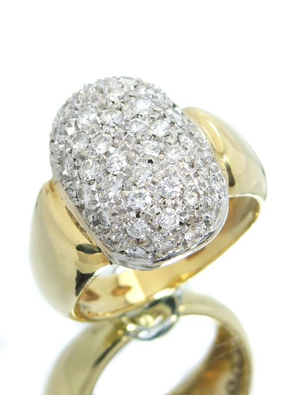 【パヴェダイヤ】セレクトジュエリー『K18YG/K18WGリング ダイヤモンド1.00ct』13号 1週間保証【中古】b03j/h15A