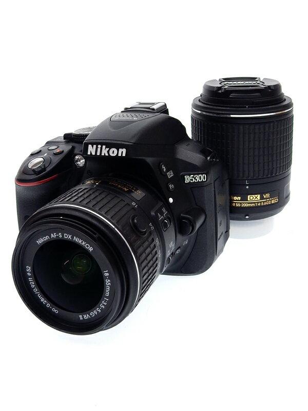【Nikon】ニコン『D5300 ダブルズームキット2』D5300W55200KITBK ブラック 2416万画素 デジタル一眼レフカメラ 1週間保証【中古】b02e/h19AB