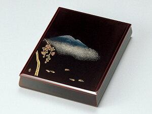 沈金故郷の詩 文庫 溜 1個:木製漆塗り 日本製 書類入れ デスク 御祝 記念品 プレゼント ギフト
