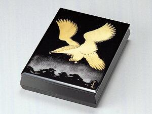 沈金松に鷹 文庫(A4サイズ) 黒 1個:木製漆塗り 日本製 書類入れ デスク 御祝 記念品 プレゼント ギフト