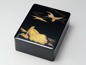 沈金鶴亀 文庫 黒 1個:木製漆塗り 日本製 書類入れ デスク 御祝 記念品 プレゼント ギフト