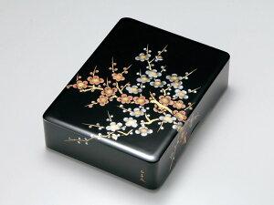 沈金紅白梅 文庫 黒 1個:木製漆塗り 日本製 書類入れ デスク 御祝 記念品 プレゼント ギフト