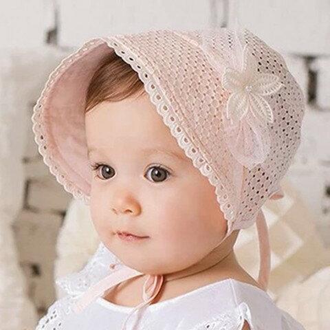 【サイズ調整可能・全2色】刺繍模様 帽子 キッズ  ベビー 赤ちゃん用 帽子  UVカット 帽子 綿素材 紐付き  ツバ広 夏 プール 紫外線対策 日よけ 海 女の子 レース