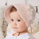 【サイズ調整可能・全2色】刺繍模様 ベビー 赤ちゃん用 帽子  UVカット 帽子 綿素材 紐付き  ツバ広 夏 プール 紫外線対策 日よけ 海 女の子 レース
