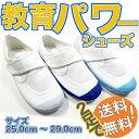 教育パワーシューズ 白 青 ライトブルー 25.0cm--29.0cm 上履き 子供 幅広 体育館履き 校内履き 上靴 2足で送料無料